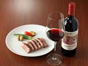 山形牛サーロインには『ロッソディノートリ』サンジョベーゼ主体のイタリアのスーパーワインの産地トスカーナ産の高評価ワイン。