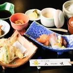 刺身2種・天婦羅・茶碗蒸し・小鉢2種・白飯・お新香・味噌汁