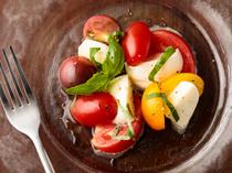 シェフこだわりの地元産トマトを使用した『井出農園のトマトと水牛のモッツアレラのカプレーゼ』