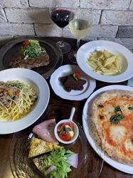 2時間飲み放題付き!種類豊富な前菜や牛メイン・特製パスタなど本格イタリアン全4皿×メッセージで祝福