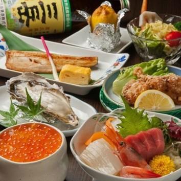 【新年会】牡蠣+特製海鮮鍋他 全8品 120分飲み放題付コース