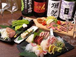 究極看板コース!日本酒47種含む2.5時間飲放題プラン。本来7500円コースの贅沢料理9品!