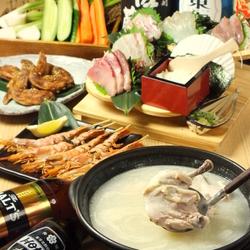 会社ご宴会や接待などにもおすすめ。旬の海鮮をたっぷり使ったお鍋や、鶏を丸ごと贅沢に煮込んだお鍋など