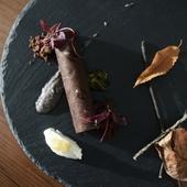兎のサルミをカカオのクレープで巻いた前菜『兎のクレスペッロ』