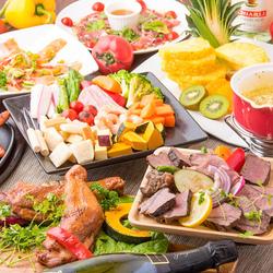 ハーブ香るグリルチキンステーキと濃厚チーズフォンデュがついた女性のお客様に一番人気のコース内容。