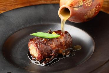美味しさを巻いて内側に凝縮『飛騨牛と鮎飯のインボルティーニ 鮎出汁のスープでリゾット風に』