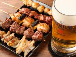 大人気串焼きの国産シマチョウを使用! 獺祭含む地酒各種飲み放題OK!