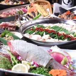 職人捌きの呼子直送烏賊の活き造りを始めとした九州郷土料理満載なコース