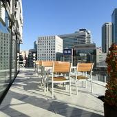 眺めの良いテラス席で、横浜の風景と料理を堪能