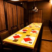 周りを気にせずに食事を楽しめる、落ち着いた雰囲気の完全個室