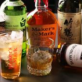 「メーカーズマーク」を筆頭に、国内外のウイスキーがずらり。通にも納得の品揃えが自慢の『ウイスキー』