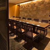 接待などの会食に相応しい、モダンな完全個室