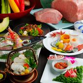 店名を冠した人気メニュー、鉄板焼きの醍醐味と繊細な日本料理を堪能できる『若会席コース』