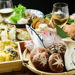 接待・会食に!刺身3種に豪華天ぷらはエビにお野菜、牛ハラミ!絶品いくらそばもついてボリューム満点