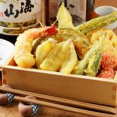 米油でサクサクに揚げた天ぷらはさっぱりとした味わい