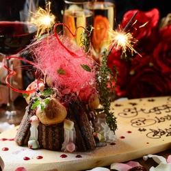 デザートにはインパクト抜群のマウンテンケーキにメッセージを添えてお出しします◎予約時にお伝え下さい