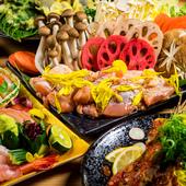 名物名古屋コーチンの白湯鍋をはじめ、創作料理が付いた充実の宴会プラン『さつきコース』