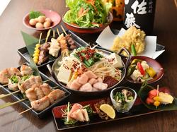 名物!野菜巻き・肉巻き・博多串焼き・かつぎやの牛モツ鍋~選べる出汁~が楽しめるお得なコース。