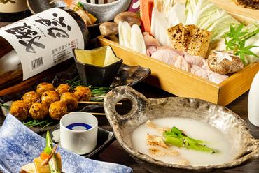 京都丹波黒どりの水炊きなど7品『<3時間飲み放題+創作和食>さつきコース』