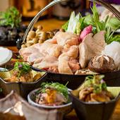 新鮮な地鶏や、市場直送の素材を使った宴会コース『市場直送 鮮魚の御造り 3時間飲み放題付 全9品』