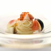 鮮やかな彩りとツルリとした食感が楽しい『冷製カッペリーニ』