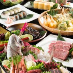 贅沢に楽しみたい日は松コースがおすすめ!豪華舟盛りと厳選和牛のステーキを両方楽しめるコースです。