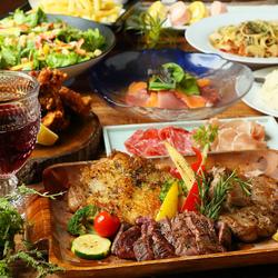 2種類(肉3種盛りorチーズタッカルビ)から選べるメインをはじめ人気のローストビーフなど豪華10品コース!