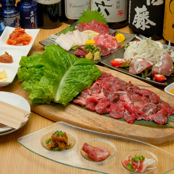 ◆飲み放題付!特選馬刺しと桜ユッケ&馬肉の焼肉コース