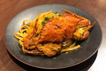 活 渡り蟹のトマトクリームソース マスカルポーネ添え タリアテッレ
