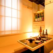 和の香り漂う柔らかな雰囲気の中、ゆったりと美酒佳肴に興じる