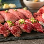 いろいろな肉を食べ比べできる『肉寿司5点盛り合わせ』