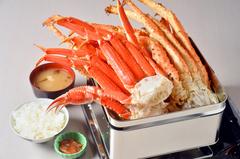 たらば蟹・ずわい蟹・毛蟹。3大蟹を豪快にガンガン焼で100分味わう人気メニューたらこ・明太子も食べ放題