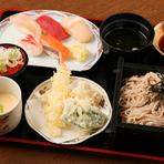 リーズナブルなのに、寿司に天ぷら、そばまで揃う。ボリュームたっぷりの『すし天・そばセット』