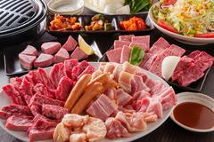 高級な希少部位を含むお肉13種を楽しめるコースです。+1500円から飲み放題&ごはん食べ放題の追加も可能!