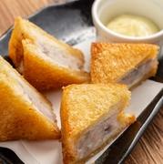 食パンに海老のすり身を挟んであげました。サクサク、ぷりぷりの食感!長崎の郷土料理です。