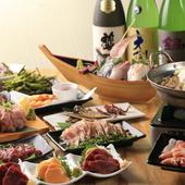 海鮮も軍鶏も馬肉もすべて食べたい!そんなお客さまのために、よくばりコースをご用意しました!