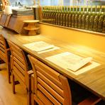 ときにはカウンター席に座り、ひとりでピッツアを楽しんでみてはいかがでしょうか。