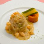 真鯛の蒸煮 エビのソース