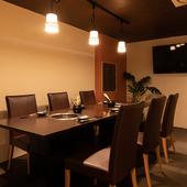 店内一室のみの完全個室は人気のため、ご予約はお早めに!