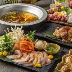 鮮魚の三点盛りや選べる鍋(究極のもつ鍋 or 鰤しゃぶしゃぶ)など8品がついた宴会プラン