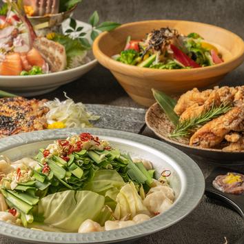 平日限定◆2H飲放題付!究極のもつ鍋や鶏もも炭火焼き7品3000円