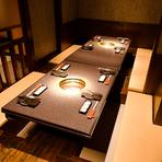 完全個室と半個室風のお席のみ! プライベート感の高さも評判
