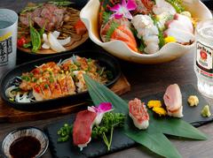 伊勢海老刺身や十勝豚炭火焼などおすすめメニューを多数盛り込んだお得な宴会コース