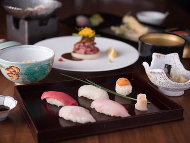 旬の食材を最大限に使用した、季節の懐石『寿司懐石』
