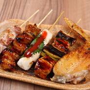地鶏の串焼き 5本盛り合わせ