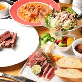 新鮮な野菜や魚介類をはじめ、稀少な神居牛(カムイ牛)は絶品