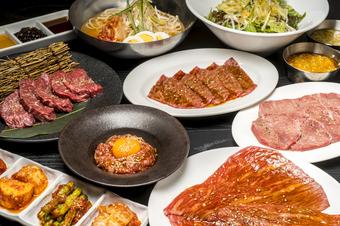 4500円で焼肉のお料理を十分に味わって頂けるコース。 厳選した7種のお肉をお楽しみ下さい。