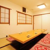 2~25名様までに対応する、掘りごたつ式の完全個室をご用意
