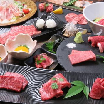 【プチ贅沢焼肉】お肉6種&名物焼きすき焼き付きコース6000円