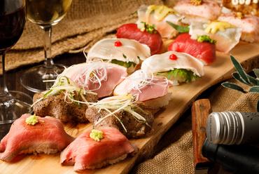 バリエーション豊かな味わいを、食べ放題でも満喫できる『肉寿司』